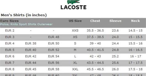 lacoste golf shirts size chart    pinterest lacoste