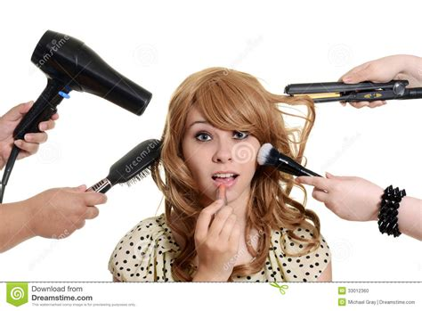Teen Girl Getting A Makeover Stock Photo - Image: 33012360