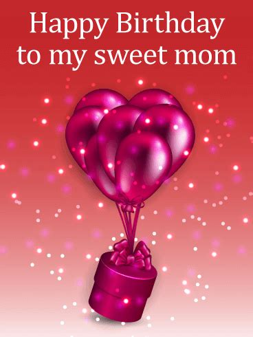 shiny birthday balloons gift box card  mom birthday