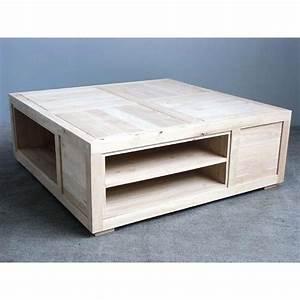 Table Salon Carrée : table basse carr e avec casiers h v a 100x100x38cm helena ~ Teatrodelosmanantiales.com Idées de Décoration