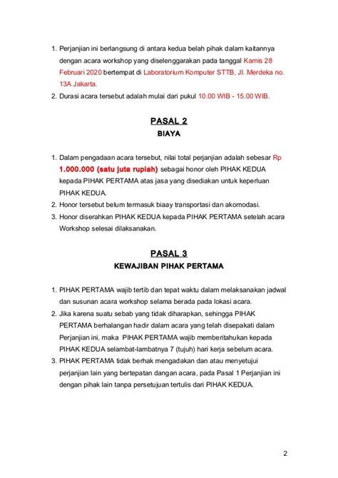 contoh surat perjanjian kerja karyawan staf sparepart