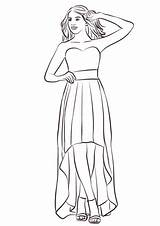 Coloring Dress Prom Low Pages Drawing Strapless Printable Medium Categories sketch template