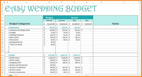 9+ Wedding Budget Excel Spreadsheet  Excel Spreadsheets Group