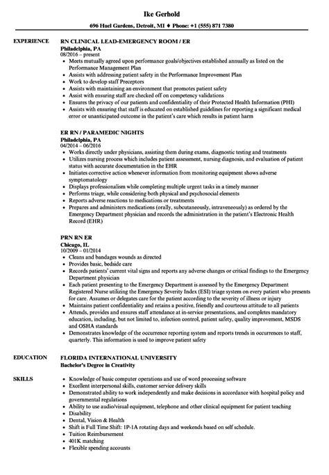 Rn Resume by Er Rn Resume Sles Velvet