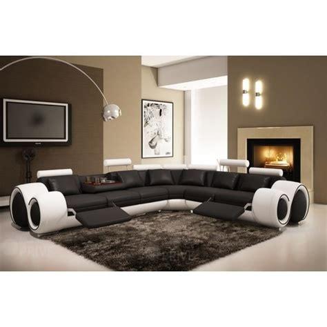magasin canapé avignon canapé d 39 angle cuir noir et blanc relax oslo