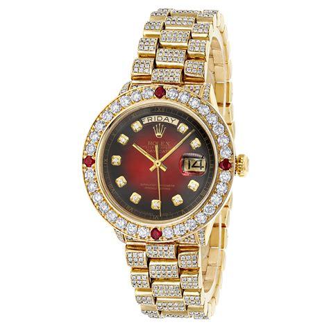 Custom Mens 18k Gold Rolex Day-Date President Diamond and ...