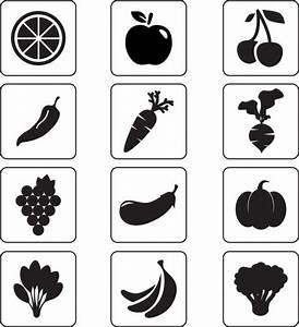 Vegetable and fruit icons isolation black silhouettes ...