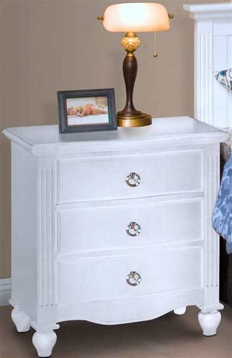 Wide White Nightstand by White Stand From New Classic Coleman