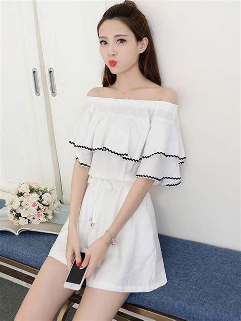 Ulzzang Korean Fashion Off The Shoulder Cotton Linen Cute Rompers - WSDear.com
