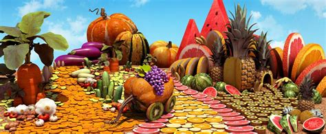 Fruits and vegetables contain many vitamins and minerals that are good for your health. THE ONE!! » 3D Fruit and Vegetable Landscape / http://www ...