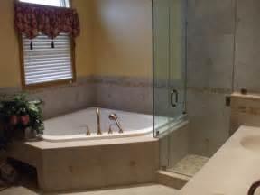 corner tub bathroom ideas inspiring corner tub bathroom designs with polished brass handheld shower heads and