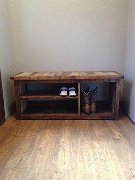 rustic shoe bench  woodlandrustic  etsy bench