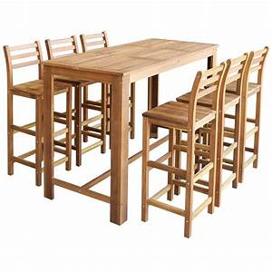 Bartisch Set Günstig : vidaxl siebenteiliges bartisch und hocker set massives akazienholz g nstig kaufen ~ Markanthonyermac.com Haus und Dekorationen