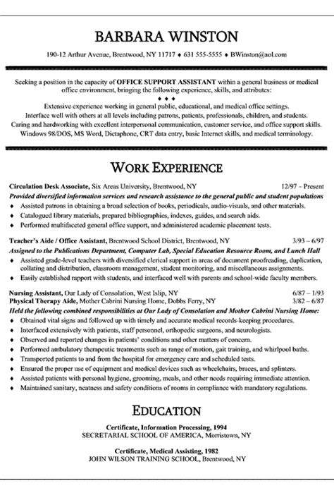 office assistant resume exle s aide