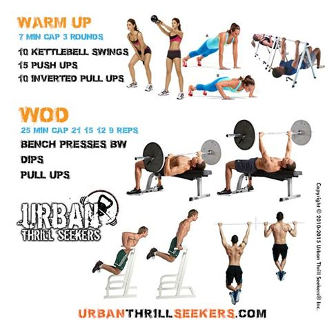 workout ups push pull kettlebell press dips bench swings exercises crossfit wod dumbbell inverted presses bw workouts daily amrap swing
