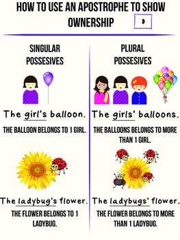 apostrophe anchor chart singular and plural possessive