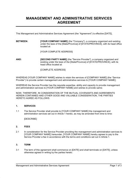 management  administrative services agreement template