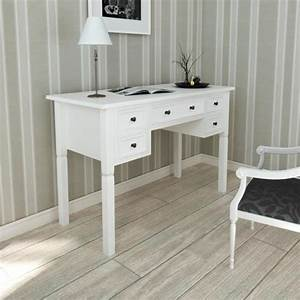 Bureau Blanc Simple : bureau blanc 5 tiroirs achat vente bureau bureau blanc 5 tiroirs cdiscount ~ Teatrodelosmanantiales.com Idées de Décoration