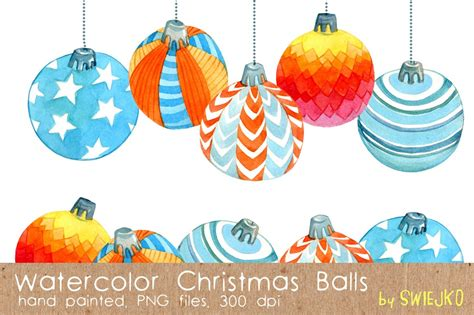 watercolor christmas balls graphic objects creative market