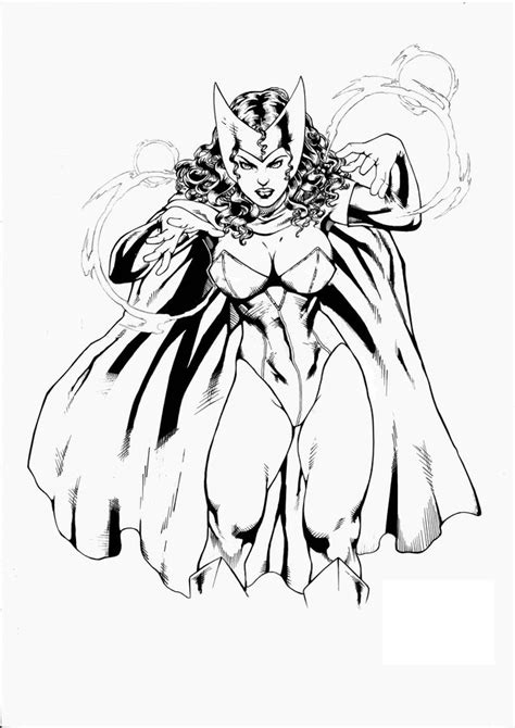 coloring pages scarlet witch printable  kids adults