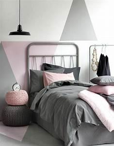 1001 conseils et idees pour une chambre en rose et gris With peinture paillet e chambre adulte