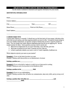 resume worksheet printable fill printable