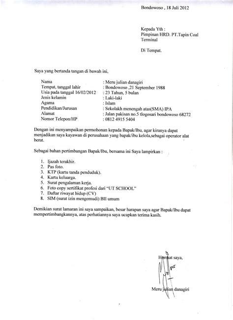 Surat Lamaran Diketik by 10 Surat Lamaran Kerja Contoh Contoh Lamaran Kerja Dan