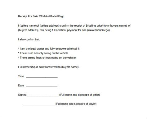 sample sales receipt template   documents  word