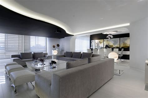 Big Apartments : Big Apartment In Futuristic Black And White Color Theme By