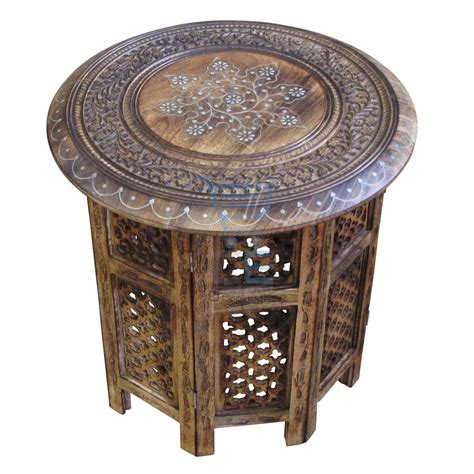 hand carved end tables large side table with aluminium inlay indian mango wood