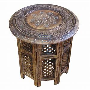 large side table with aluminium inlay indian mango wood With indian carved coffee table