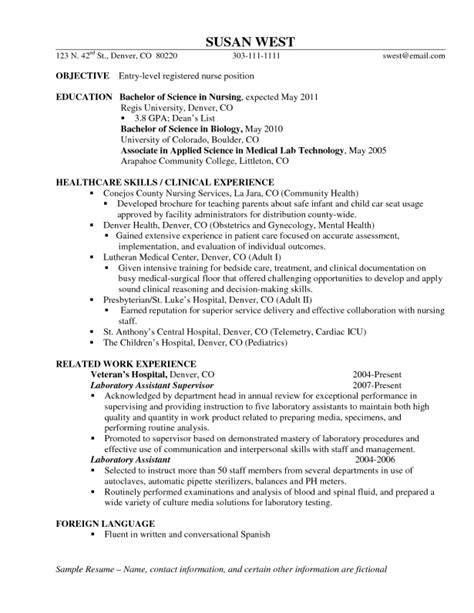 Rn Student Resume by Resumes Make A Entry Level Objective Rn Plus Best