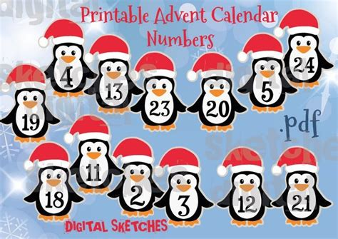advent calendar numbers  printable  digital sketches