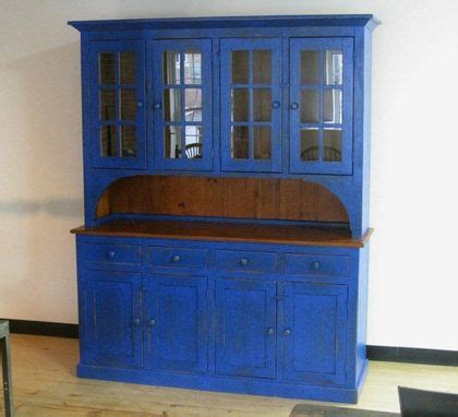 custom  full size blue barn wood hutch