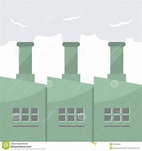 Factory Building With Smoke Stacks Stock Vector - Image ...
