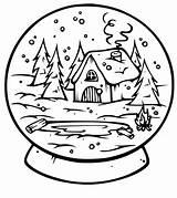 Coloring Snow Globes Globe Snowglobe Blank Popular Template sketch template