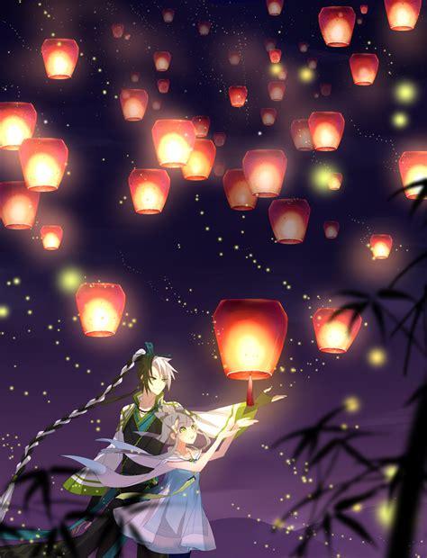 sky lanterns paper lantern zerochan anime image board