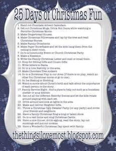 25 Days of Christmas List