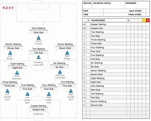 high school soccer lineup sheet 11v11 4 2 3 1 players and With soccer starting lineup template