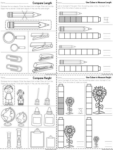 Measuring Worksheets For Kindergarten Non Standard  Worksheet Example