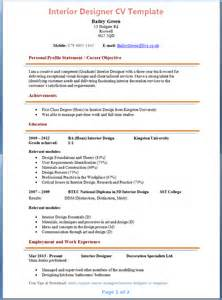 interior design graduate resume interior designer cv template
