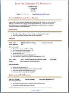 resume interior design templates interior designer cv template