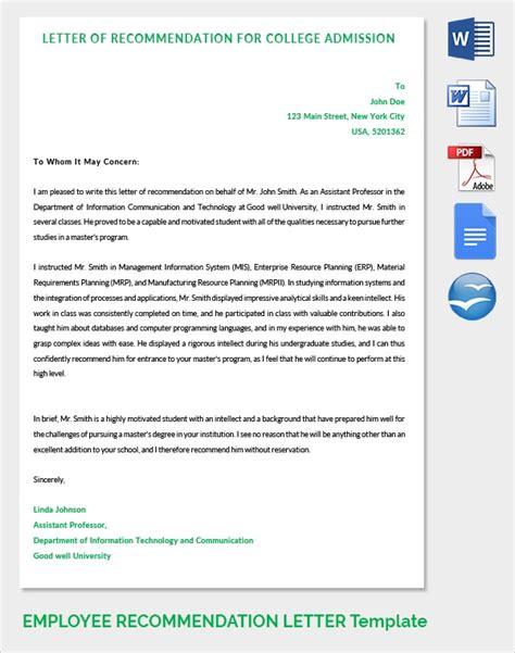 sample recommendation letter formats