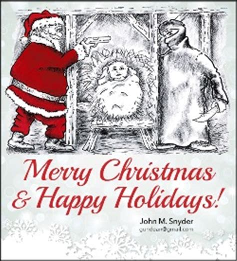 christmas is caring chords armed santa claus on snyder card protects baby jesus from knife wielding islamist