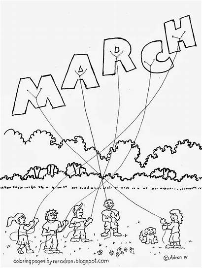 March Coloring Pages Month Madness Sheets Printable