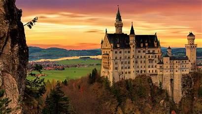 Castle Neuschwanstein Architecture Building 1080p Background Twilight