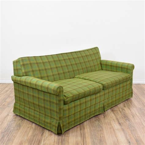 plaid loveseat green plaid sleeper sofa loveseat vintage furniture san