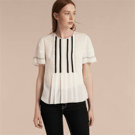 burberry blouse topstitched silk blouse burberry