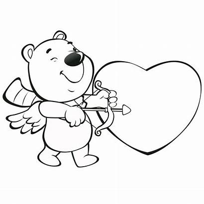 Coloring Valentine Heart Pages Bear