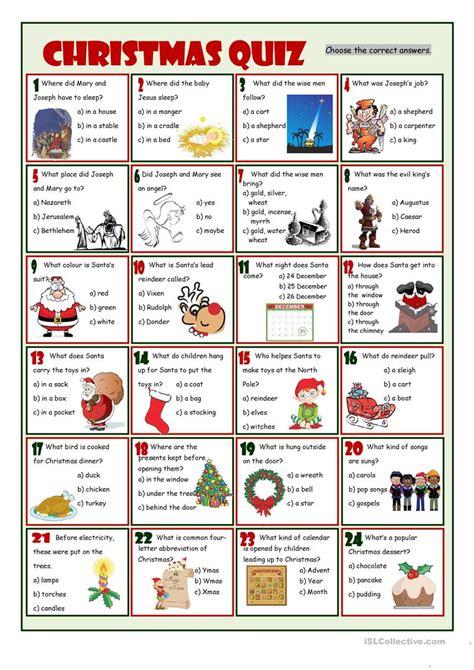 Christmas Quiz Worksheet  Free Esl Printable Worksheets Made By Teachers